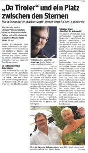 Presse: Weber - da Tiroler und ein Platz zwischen den Sternen